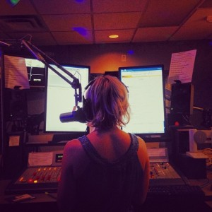 On the air at KEXP. Picture by Evie Cooke.
